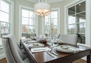 A beautiful formal dining room with lots of natural light in this custom built home in Greenville, SC.   GoodwinFoust.com  Custom Home Builder - Greenville, SC