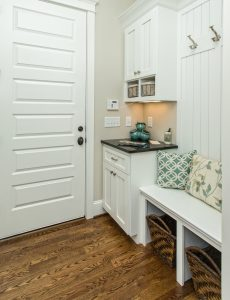 A super functional mudroom space at the rear entry of this custom built home in Greenville, SC.   GoodwinFoust.com  Custom Home Builder - Greenville, SC